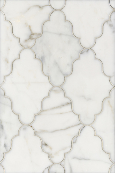 Name: Djinn<br /> Style: Contemporary<br /> Product Number: CB0817DJINN (12&quot;x18&quot;)<br /> Description: Djinn, a water jet stone mosaic, shown in Calacatta Tia polished.