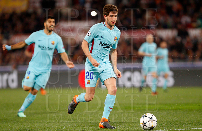 FC Barcelona Sergi Roberto in action during the Uefa Champions League quarter final second leg football match between AS Roma and FC Barcelona at Rome's Olympic stadium, April 10, 2018.<br /> UPDATE IMAGES PRESS/Riccardo De Luca