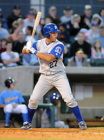 April 10, 2009: Catcher Ryan Eigsti (27) of the Wilmington Blue Rocks, Class A affiliate of the Kansas City Royals, in a game against the Myrtle Beach Pelicans at BB&T Coastal Field in Myrtle Beach, S.C. Photo by:  Tom Priddy/Four Seam Images