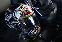 May 31, 2013; Englishtown, NJ, USA: Detailed view of the helmet of NHRA top fuel dragster driver Khalid Albalooshi during qualifying for the Summer Nationals at Raceway Park. Mandatory Credit: Mark J. Rebilas-