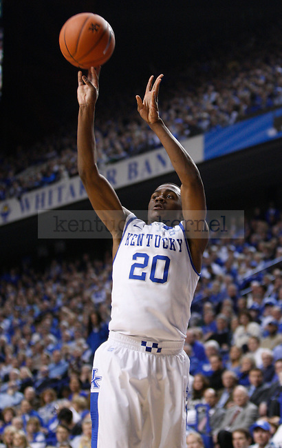 UK's Doron Lamb shoots a three against Vanderbilt at Rupp Arena on Tuesday, March 1, 2011. Photo by Scott Hannigan | Staff