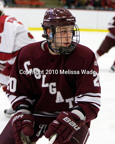 Jeremy Price (Colgate - 20) - The Colgate University Red Raiders defeated the Harvard University Crimson 4-2 (EN) on Saturday, February 20, 2010, at Bright Hockey Center in Cambridge, Massachusetts.