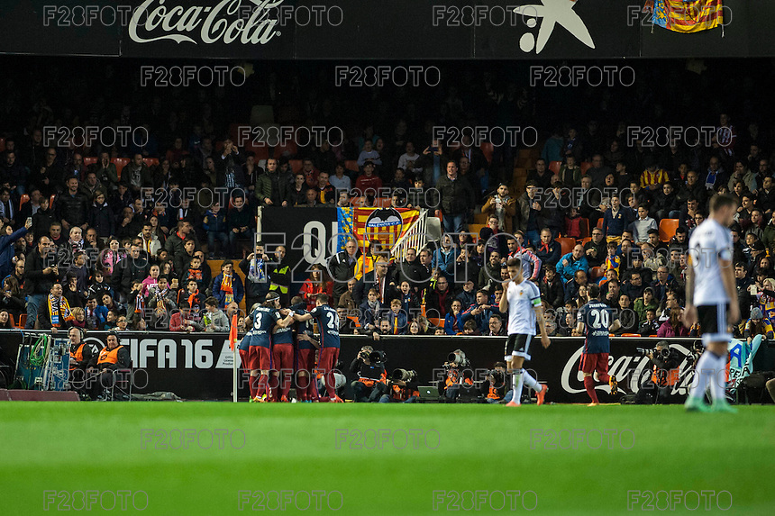 VALENCIA, SPAIN - MARCH 6: Atletico de Madrid goal celebration during BBVA League match between Valencia C.F. and Athletico de Madrid at Mestalla Stadium on March 6, 2015 in Valencia, Spain