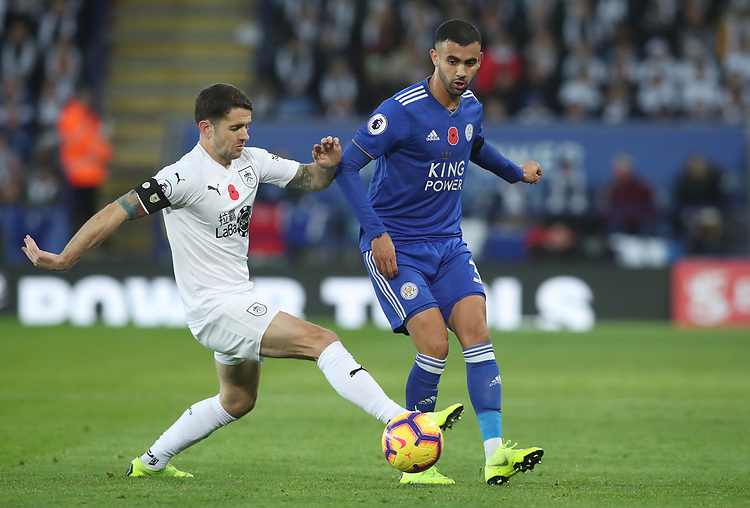 Burnley's Robbie Brady and Leicester City's Rachid Ghezzal<br /> <br /> Photographer Rachel Holborn/CameraSport<br /> <br /> The Premier League - Saturday 10th November 2018 - Leicester City v Burnley - King Power Stadium - Leicester<br /> <br /> World Copyright © 2018 CameraSport. All rights reserved. 43 Linden Ave. Countesthorpe. Leicester. England. LE8 5PG - Tel: +44 (0) 116 277 4147 - admin@camerasport.com - www.camerasport.com