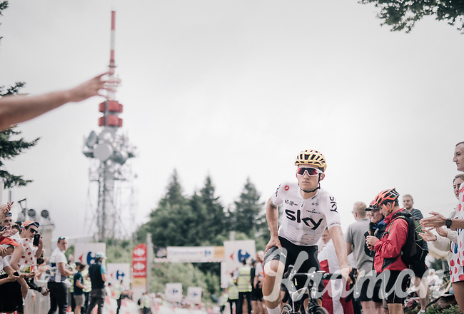 Sportmanship: Michal Kwiatkowski (POL/SKY) awaits heavily crashed (&amp; bruised) countryman Rafał Majka (POL/BORA-hansgrohe) on top of the Mont du Chat (HC/8.7km/10.3%) to descent together towards the finish<br /> <br /> 104th Tour de France 2017<br /> Stage 9 - Nantua &rsaquo; Chamb&eacute;ry (181km)