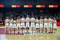 20191114 - CHARLEROI , BELGIUM : Belgian Cats Kim Mestdagh (5) , Antonia Delaere (6) , Marjorie Carpreaux (9) , Laure Resimont (10), Emma Meesseman (11) , Ann Wauters (12) , Kyara Linskens (13) , Hanne Mestdagh (22) , Heleen Nauwelaers (32) , Jana Raman (42) , Billie Massey (52) and Julie Allemand (55) pictured before the female basketball match between the Belgian national team Belgian Cats and Ukraine , a first qualification game for the Belgian Cats in Group G towards the Women's European Eurobasket Basketball Championships 2021 in Lyon, Paris and Valencia, on Thursday 14 th November in the Dome in Charleroi , Belgium . PHOTO SPORTPIX | STIJN AUDOOREN