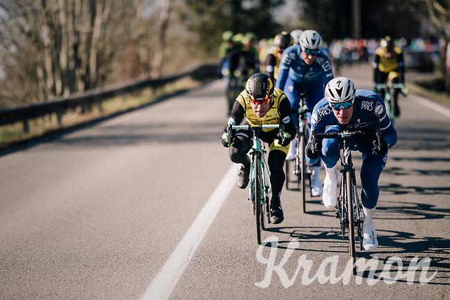 Tim Declercq (BEL/Quick-Step Floors) & Bram Tankink (NED/LottoNL-Jumbo) tucked in at the front of the peloton<br /> <br /> 70th Kuurne-Brussel-Kuurne 2018<br /> Kuurne › Kuurne: 200km (BELGIUM)
