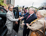 Willie Taggart arrives and greets Florida State University president John Thrasher and his wife Jean before being announced as FSU's new NCAA college football coach in Tallahassee, Fla., Wed, Dec. 6, 2017. (AP Photo/Mark Wallheiser)