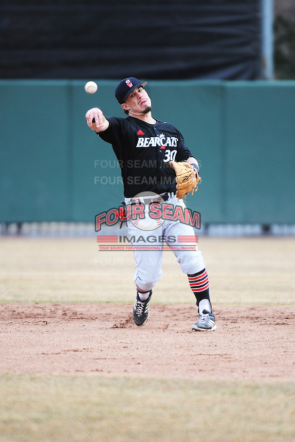 Cincinnati Bearcats infielder Ryan Quinn (30) during 1st game of double header against the St. John's Redstorm at Jack Kaiser Stadium on March 28, 2013 in Queens, New York. St. John's defeated Cincinnati 6-5.      . (Tomasso DeRosa/ Four Seam Images)