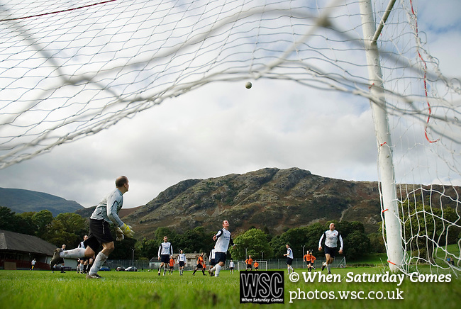 Coniston v Penrith, 20/09/2008. Westmorland League. Coniston defending. Photo by Paul Thompson.