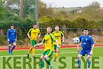 Darren Breen, Mitchells Av ( Lt) and Richie Neelan, Ennis FC go for the ball when the sides met at MountHawk park, Tralee last Sunday evening in the FAI cup tie