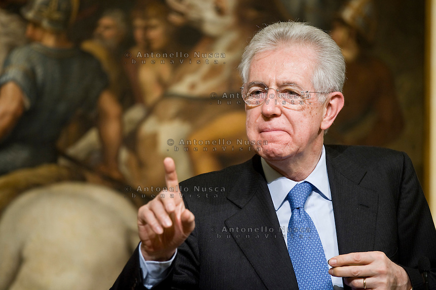 Mario Monti..Italian Prime Minister Mario Monti  waiting to meet with German Chancellor Angela Merkel at Palazzo Chigi in Rome.