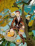 Illustrative concept of man collecting fruits from tree representing business profit