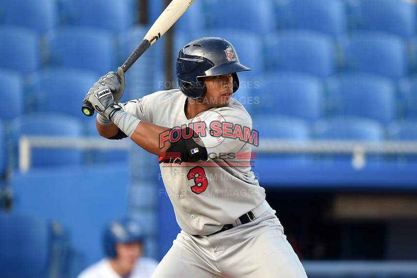 Brevard County Manatees second baseman Chris McFarland (3) at bat during a game against the Dunedin Blue Jays on April 23, 2015 at Florida Auto Exchange Stadium in Dunedin, Florida.  Brevard County defeated Dunedin 10-6.  (Mike Janes/Four Seam Images)