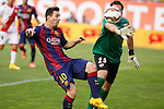 Rayo Vallecano´s goalkeeper Tono (R) and Barcelona´s Leo Messi during La Liga match between Rayo Vallecano and Barcelona at Vallecas stadium in Madrid, Spain. October 04, 2014. (ALTERPHOTOS/Victor Blanco)