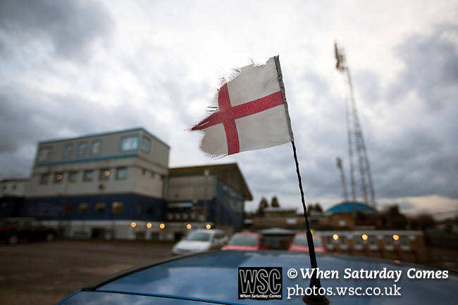 Southend United 1 Burton Albion 1, 22/02/2016. Roots Hall, League One. A tattered England flag on a car parked outside Roots Hall stadium, pictured before Southend United took on Burton Albion in a League 1 fixture. Founded in 1906, Southend United moved into their current ground in 1955, the construction of which was funded by the club's supporters. Southend won this match by 3-1, watched by a crowd of 6503. Photo by Colin McPherson.