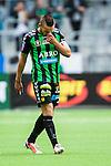 Stockholm 2014-06-18 Fotboll Superettan Hammarby IF - GAIS :  <br /> GAIS Shkelqim Krasniqi ser nedst&auml;md ut efter att ha f&aring;tt ett gult kort och varning f&ouml;r att ha firat sitt 1-0 m&aring;l framf&ouml;r Hammarbys supportrar<br /> (Foto: Kenta J&ouml;nsson) Nyckelord:  Superettan Tele2 Arena Hammarby HIF Bajen GAIS depp besviken besvikelse sorg ledsen deppig nedst&auml;md uppgiven sad disappointment disappointed dejected portr&auml;tt portrait