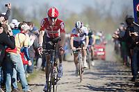 Marcel Sieberg (DEU/Lotto-Soudal) at the Carrefour de l&rsquo;Arbre (2.1 km)<br /> <br /> 114th Paris-Roubaix 2016
