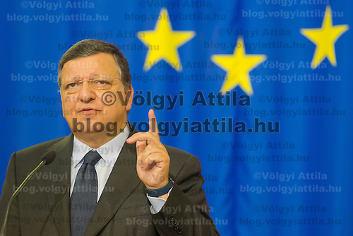 Jose Manuel Baroso President of the European Commission talks during a press conference in Budapest, Hungary on September 11, 2014. ATTILA VOLGYI