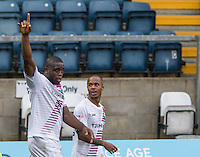 Goalscorer John Akinde (left) of Barnet & Mauro Vilhete of Barnet celebrate the second goal during the Sky Bet League 2 match between Wycombe Wanderers and Barnet at Adams Park, High Wycombe, England on 22 October 2016. Photo by Kevin Prescod.