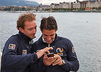 Swiss, Genève, September 14, 2015, Tennis,   Davis Cup, Swiss-Netherlands, Dutch team on a boat trip on lake Geneve making a selfie ltr:   Matwe Midelkoop ,  and Jesse Huta Galung.<br /> Photo: Tennisimages/Henk Koster