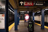 NEW YORK, NY - MARCH 19: A empty subway train station is seen in New York City on March 19, 2020. The ridership declined 90 percent compared to the same date last year due to the Coronavirus. The World Health Organization declared a global pandemic as the coronavirus rapidly spreads across the world. (Photo by Joana Toro/ VIEWpress via Getty Images)
