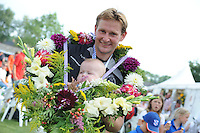 KAATSEN: BOLSWARD: 13-07-2014, Winnaars Jan Dirk de Groot (krans), Dylan Drent en Hans Wassenaar, ©foto Martin de Jong