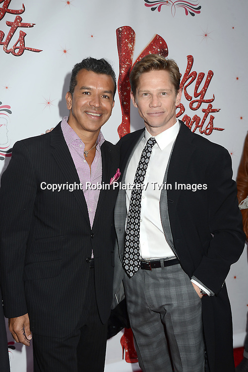 "Sergio and Jack Noseworthy arrive at the ""Kinky Boots"" Broadway Opening on April 4, 2013 at The Al Hirschfeld Theatre in New York City. Harvey Fierstein wrote is the Book Writer and Cnydi Lauper is the Composer."