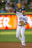 Round Rock Express second baseman Ryan Strausborger #6 makes a throw to first base during the Pacific Coast League baseball game against the Memphis Redbirds on April 24, 2014 at the Dell Diamond in Round Rock, Texas. The Express defeated the Redbirds 6-2. (Andrew Woolley/Four Seam Images)