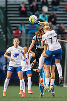Allston, MA - Saturday, May 07, 2016: Boston Breakers midfielder Louise Schillgard (10), Chicago Red Stars forward Sofia Huerta (11), and Boston Breakers midfielder McCall Zerboni (77) during a regular season National Women's Soccer League (NWSL) match at Jordan Field.