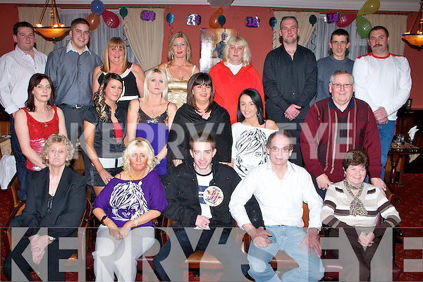 ...BIRTHDAY: Darren Healy of 131 Shanakill, Tralee who celebrated his 18th Birthday in the Imperial Hotel, Tralee on Satiurday night. Front l-r: Hannah, Jacquline, Darren (birthday boy) and Danny Healy and Norrie Regan.Centre l-r: Michelle Griffin, Donna Ward, Margaret Healy, Geraldine Regan, Aislinn Healy and Pa Joe Regan. Back l-r: Paul Regan, Sean Lynch, Ann Walsh, Tina Healy, Elitzabeth Ward, Christopher Martin, Mark Coffey and Denis Healy...............   Copyright Kerry's Eye 2008