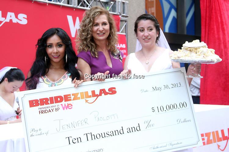 NEW YORK, NY - MAY 30: Nicole &quot;Snooki&quot; Polizzi with winner Jennifer Paoliotti hosts WE tv's 10th Anniversary and Final Season of Bridezillas with Cake Eating Competition at the plaza at Madison Square Garden in New York City. May 30, 2013. Credit: RW/MediaPunch Inc.<br />