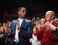 STANFORD, CA - January 26, 2019: Dick Gould, Esayas Habtemariam at Maples Pavilion. The Stanford Cardinal defeated the Colorado Buffaloes 75-62.
