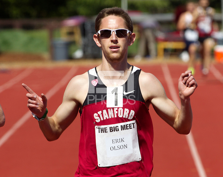 Stanford, CA., April 20, 2013,--Stanford's  Erik Olson runs in the 119 Big Meet at Cobb Track and Angell Field at Stanford University.