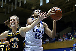 05 November 2015: Duke's Azura Stevens (11) and Pfeiffer's Meg Pritchard (AUS) (35). The Duke University Blue Devils hosted the Pfeiffer University Falcons at Cameron Indoor Stadium in Durham, North Carolina in a 2015-16 NCAA Women's Basketball Exhibition game. Duke won the game 113-36.