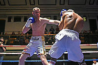 Roy Sheahan (white/gold shorts) defeats Jordan Grannum during a Boxing Show at York Hall on 10th February 2018