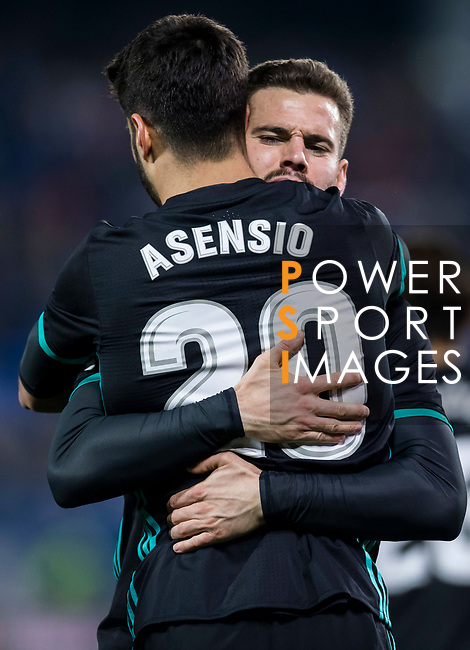Marco Asensio Willemsen of Real Madrid celebrates his goal with teammate Nacho Fernandez during the Copa del Rey 2017-18 match between CD Leganes and Real Madrid at Estadio Municipal Butarque on 18 January 2018 in Leganes, Spain. Photo by Diego Gonzalez / Power Sport Images