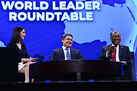 Washington, DC - March 24, 2019: President Juan Orlando Hernandez of the Republic of Honduras and Prime Minister Josè Ulisses Correia e Silva (right) of the Republic of Cabo Verde participate in a world leaders conversation during the AIPAC Policy Conference held at the Washington Convention Center in Washington, DC, March 24, 2019.  (Photo by Don Baxter/Media Images International)