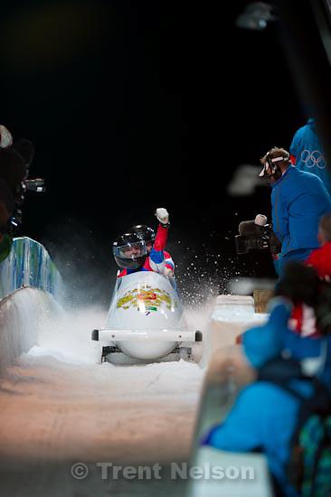 Trent Nelson  |  The Salt Lake Tribune.Two-Man Bobsled, at the XXI Olympic Winter Games in Whistler, Sunday, February 21, 2010. Russia 1 Alexsandr Zubkov, Alexey Voevoda, bronze medal