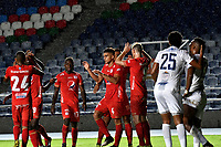 CALI-COLOMBIA, 22-05-2019: Jugadores de América de Cali, celebran el primer gol anotado a Unión Magdalena, durante partido entre América de Cali y Unión Magdalena, de la fecha 4 de los cuadrangulares semifinales por la Liga Águila I 2019 jugado en el estadio Pascual Guerrero de la ciudad de Cali. / Players of America de Cali celebrate the first scored goal to Union Magdalena, during a match between America de Cali and Union Magdalena, of the 4th date of the semifinals quarters for the Aguila Leguaje I 2019 at the Pascual Guerrero stadium in Cali city. Photo: VizzorImage / Luis Ramírez / Staff