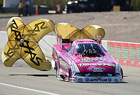 Oct. 28, 2012; Las Vegas, NV, USA: NHRA funny car driver Courtney Force during the Big O Tires Nationals at The Strip in Las Vegas. Mandatory Credit: Mark J. Rebilas-
