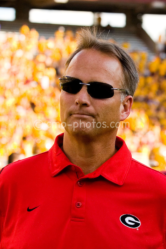 Sept 20, 2008; Tempe, AZ, USA;  Georgia Bulldogs head coach Mark Richt stands on the field watching his team warm up prior to a game at Sun Devil Stadium.  Georgia won the game 27-10.