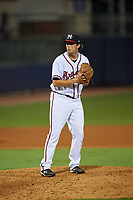 Mississippi Braves relief pitcher Tyler Pike (32) gets ready to deliver a pitch during a game against the Mobile BayBears on May 7, 2018 at Trustmark park in Pearl, Mississippi.  Mobile defeated Mississippi 5-0.  (Mike Janes/Four Seam Images)