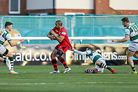 Apakuki MA'AFU of Jersey Reds is tackled during the Greene King IPA Championship match between Ealing Trailfinders and Jersey Reds at Castle Bar , West Ealing , England  on 22 December 2018. Photo by David Horn.