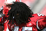 22 September 2007: North Carolina State's John Ware shakes out his dreds. The Clemson University Tigers defeated the North Carolina State University Wolfpack 42-20 at Carter-Finley Stadium in Raleigh, North Carolina in an Atlantic Coast Conference NCAA College Football Division I game.
