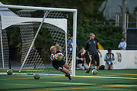 Seattle, Washington - Saturday, July 2nd, 2016: Seattle Reign FC goalkeeper Andi Tostanoski (24) prior to a regular season National Women's Soccer League (NWSL) match between the Seattle Reign FC and the Boston Breakers at Memorial Stadium. Seattle won 2-0.