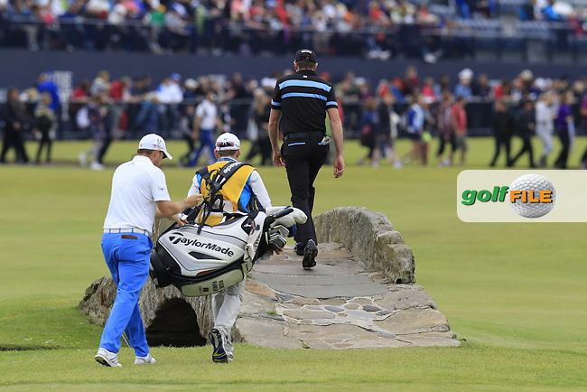 Brett Rumford (AUS) walks across the Swilcan Bridge on the 18th green during Monday's Final Round of the 144th Open Championship, St Andrews Old Course, St Andrews, Fife, Scotland. 20/07/2015.<br /> Picture Eoin Clarke, www.golffile.ie
