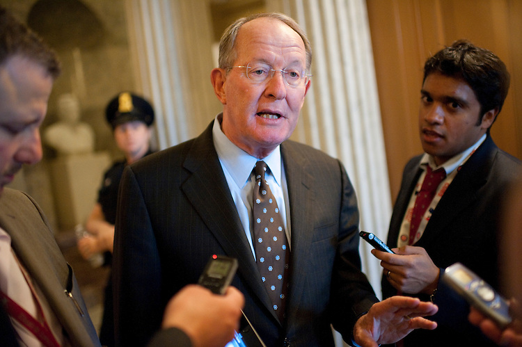 UNITED STATES - SEPTEMBER 20:  Senate Republican Conference Chairman Lamar Alexander, R-Tenn., talks to reporters in the Capitol after announcing on the Senate floor that he will resign from his leadership post.  (Photo By Tom Williams/Roll Call)