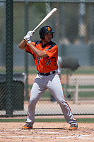 San Francisco Giants Orange designated hitter Connor Sabanosh (12) at bat during an Extended Spring Training game against the Oakland Athletics at the Lew Wolff Training Complex on May 29, 2018 in Mesa, Arizona. (Zachary Lucy/Four Seam Images)