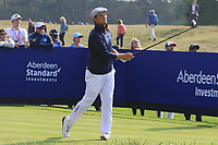 Bryson DeChambeau (Team USA) on the 6th tee during the Friday Foursomes at the Ryder Cup, Le Golf National, Ile-de-France, France. 28/09/2018.<br /> Picture Thos Caffrey / Golffile.ie<br /> <br /> All photo usage must carry mandatory copyright credit (© Golffile | Thos Caffrey)